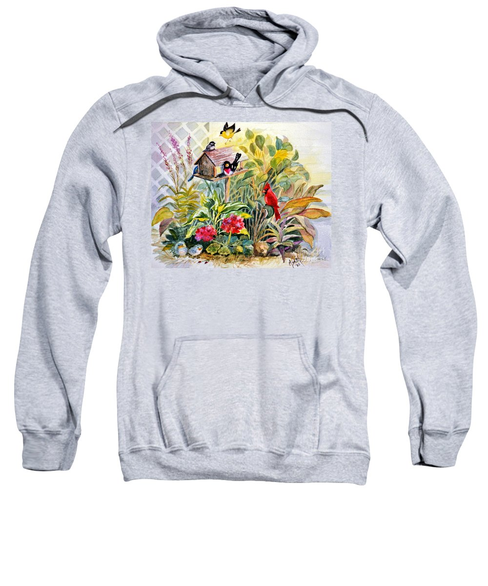 Birds Sweatshirt featuring the painting Garden Birds by Marilyn Smith