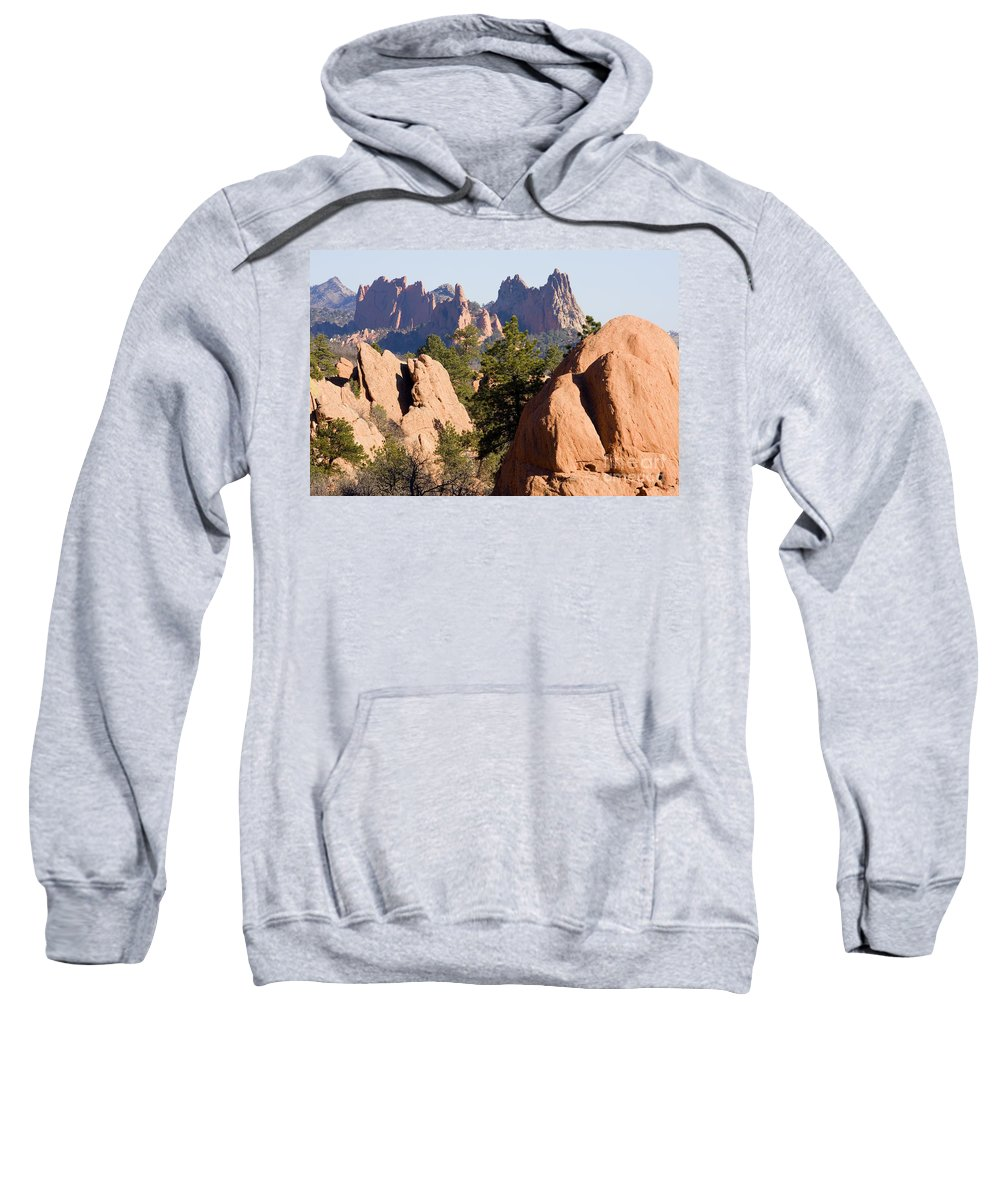 Bluffs Sweatshirt featuring the photograph Garden Of The Gods And Red Rocks Open Space by Steve Krull
