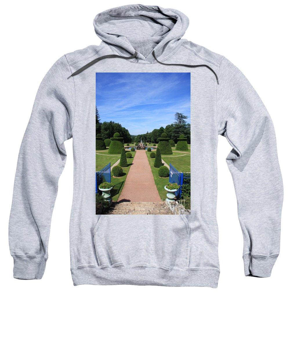 Path Sweatshirt featuring the photograph Gardenpath With Blue Gates - Burgundy by Christiane Schulze Art And Photography
