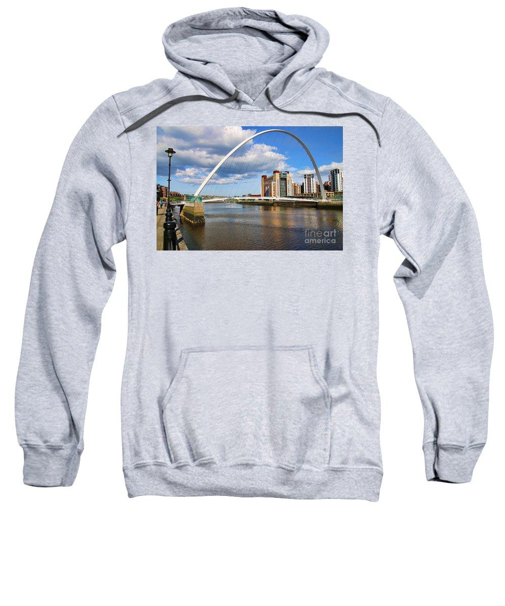 Gateshead Millenium Bridge Sweatshirt featuring the photograph Gateshead Millenium Bridge In Newcastle 6206 by Jack Schultz