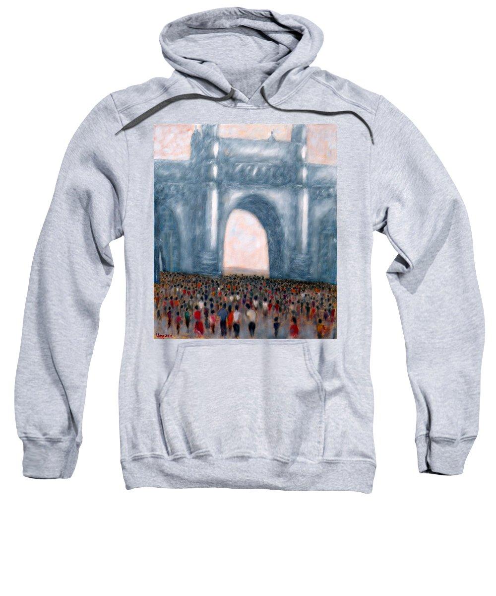 Gateway Of India Sweatshirt featuring the painting Gateway Of India Mumbai 2 by Uma Krishnamoorthy