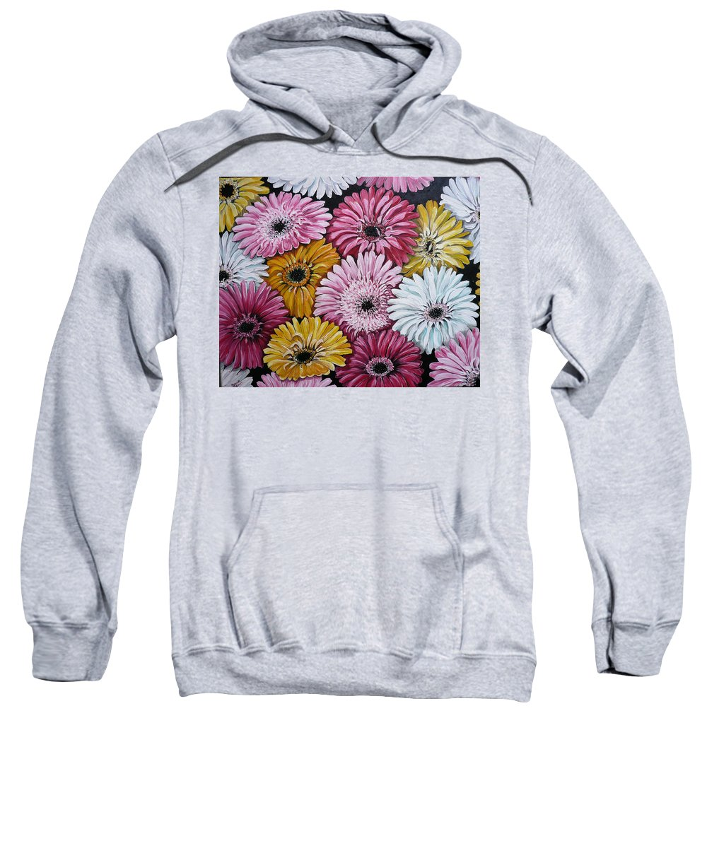 Flower Paintings Daisy Paintings Floral Paintings Blooms Color .gerbera Daisy Paintings Greeting Card Painting S Canvas Painting Poster Print Paintings Sweatshirt featuring the painting Gebera Daisies by Karin Dawn Kelshall- Best