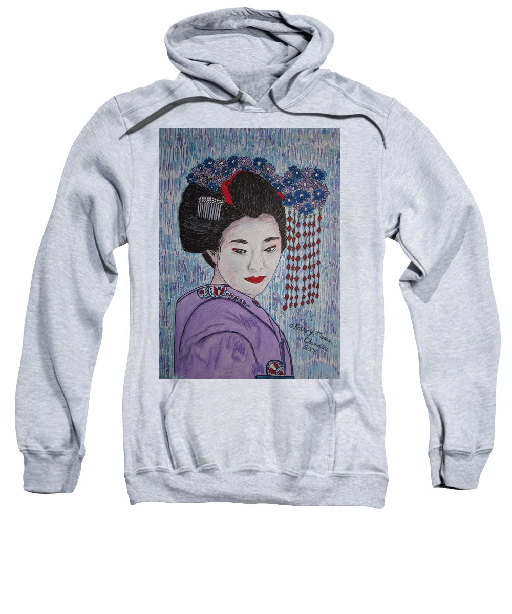 Oriental Sweatshirt featuring the painting Geisha Girl by Kathy Marrs Chandler