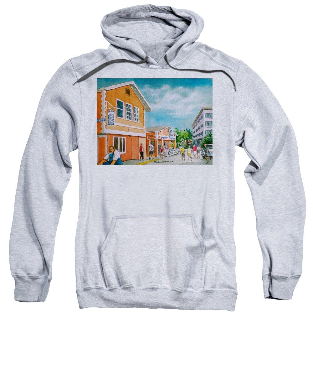 Georgetown Grand Cayman Man Bike Orange Street Tourists Sweatshirt featuring the painting Georgetown Grand Cayman by Frank Hunter