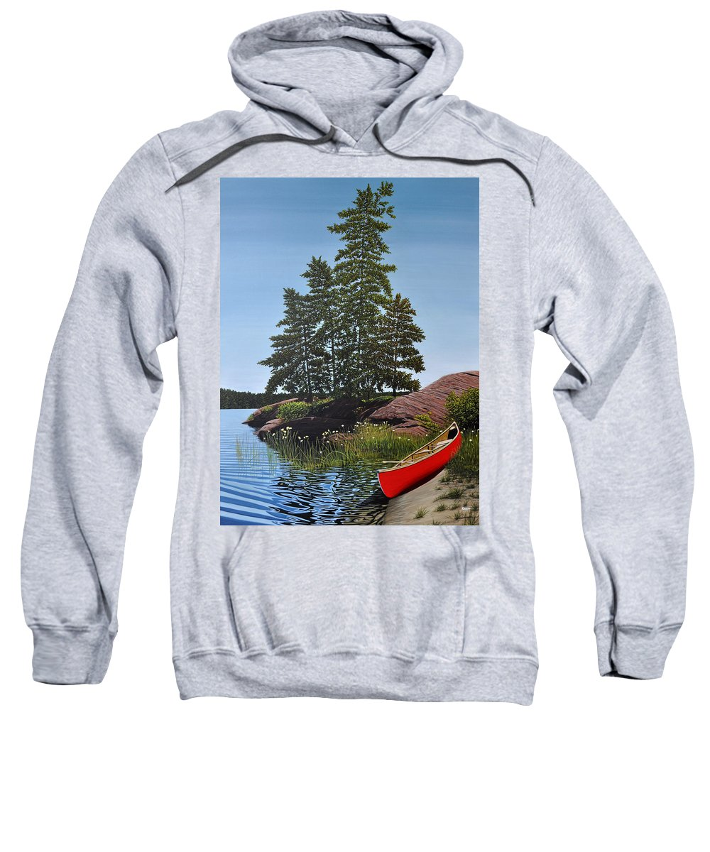 Landscapes Sweatshirt featuring the painting Georgian Bay Beached Canoe by Kenneth M Kirsch
