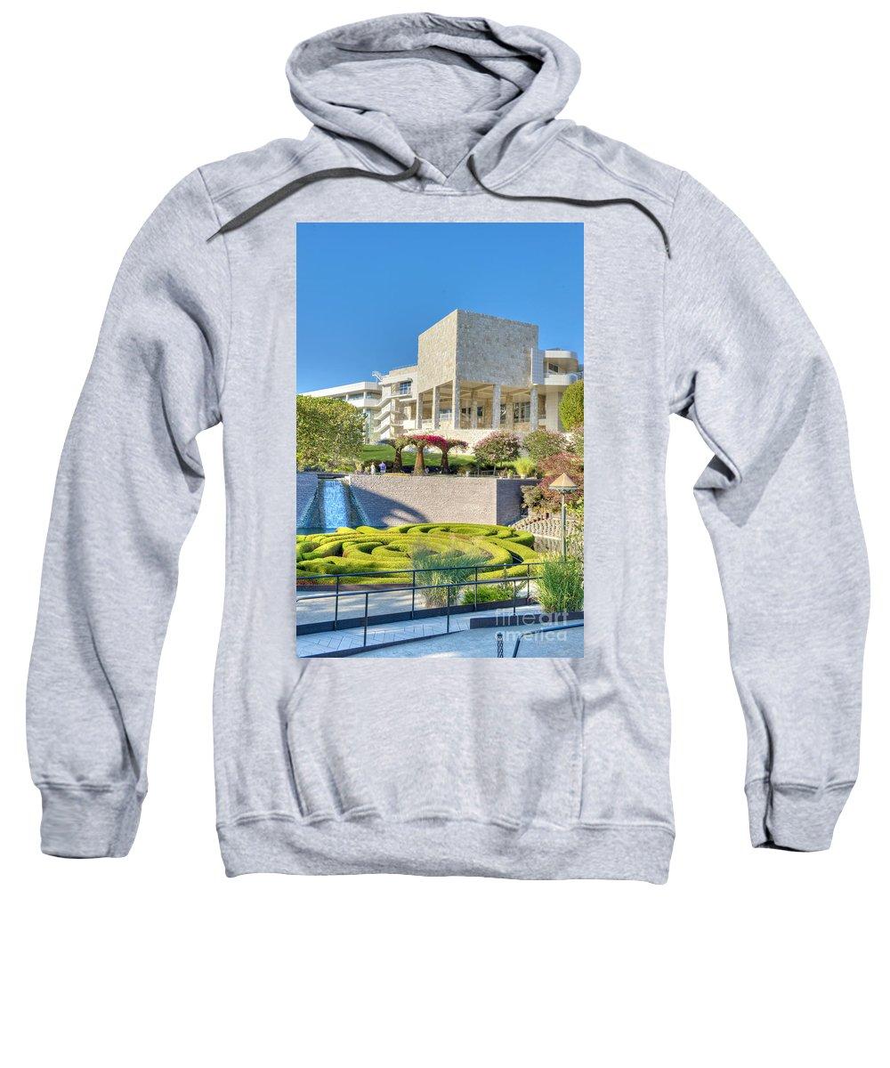 Getty Center Sweatshirt featuring the photograph Getty Center Central Garden Brentwood Ca by David Zanzinger
