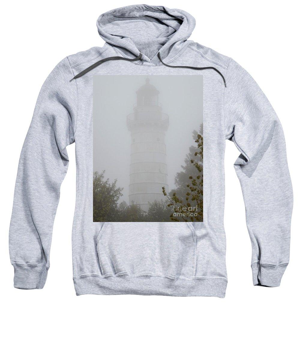 Ghostly Cana Island Lighthouse Sweatshirt featuring the photograph Ghostly Cana Island Lighthouse by Deb Schense