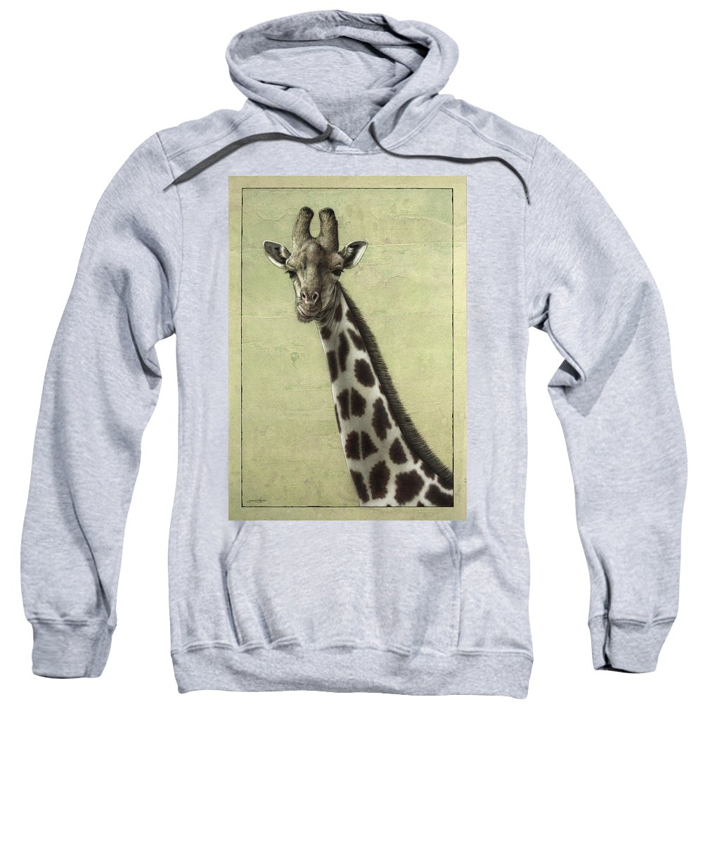 Giraffe Sweatshirt featuring the painting Giraffe by James W Johnson