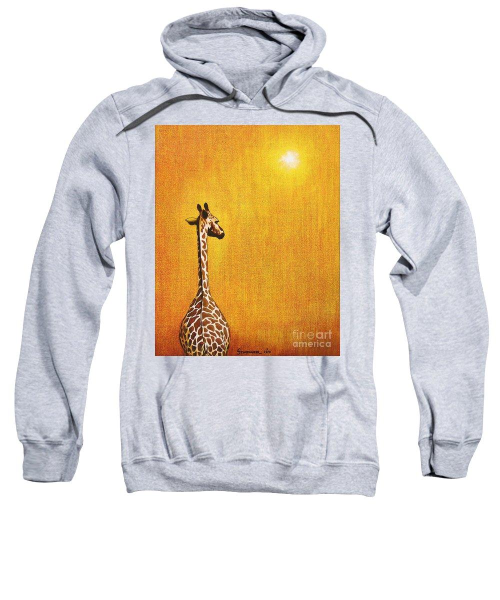 Giraffe Sweatshirt featuring the painting Giraffe Looking Back by Jerome Stumphauzer
