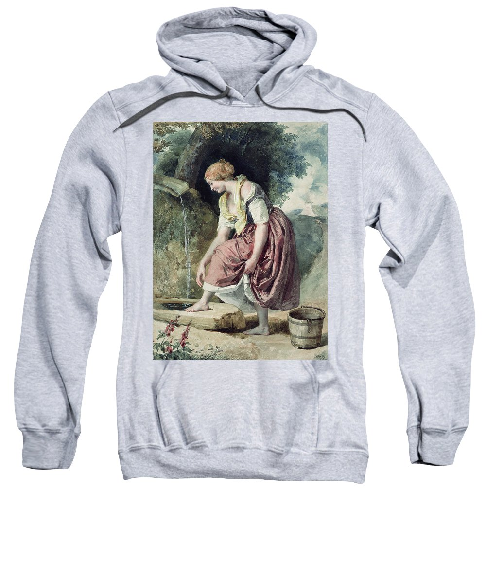 Female Sweatshirt featuring the photograph Girl At A Conduit by Karoly or Charles Brocky