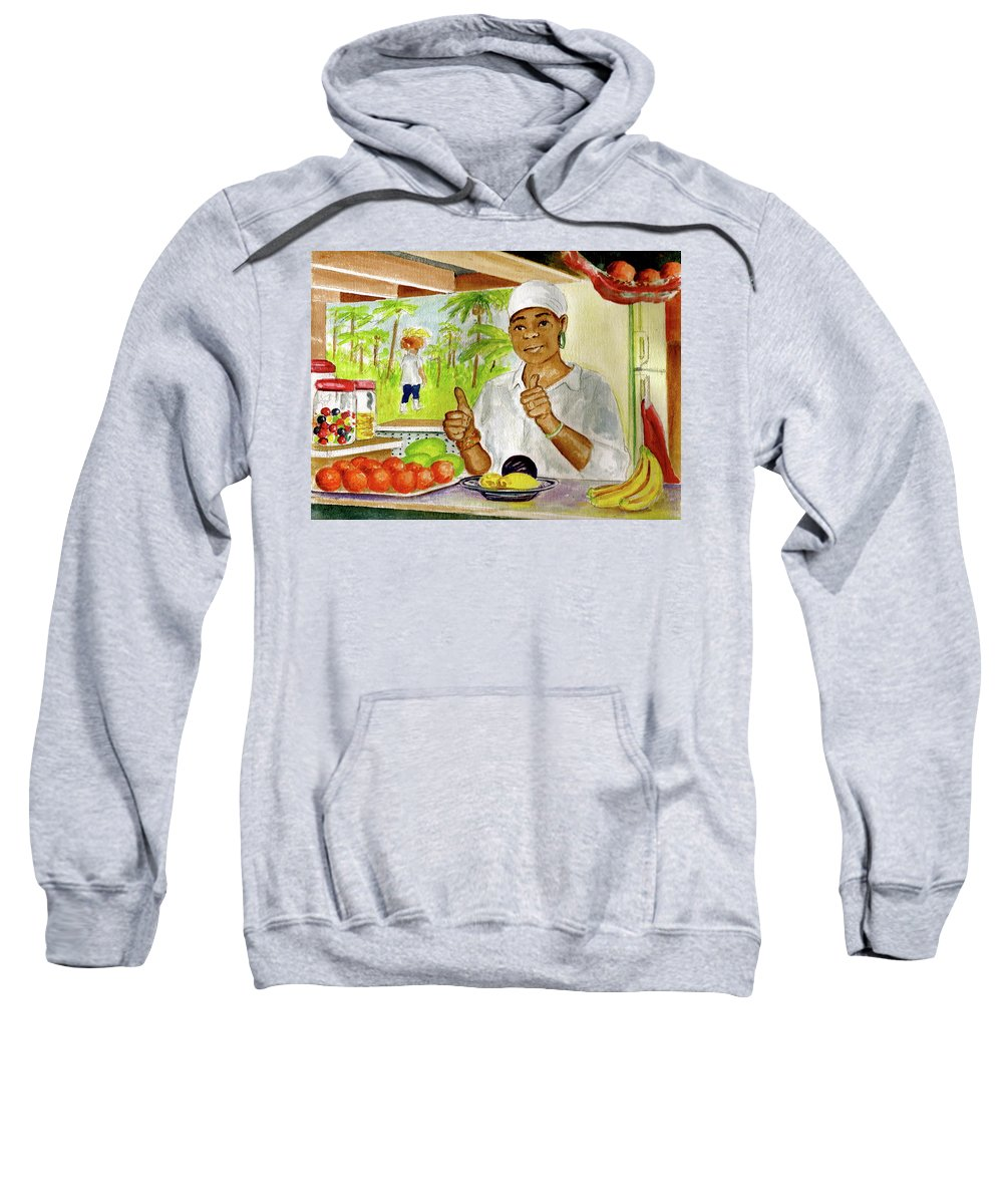 Dominica Girl Fruit Mountain Thumbs Up Basket On Head Jaco Falls Sweatshirt featuring the painting Girl In Dominica Mountains by Frank Hunter