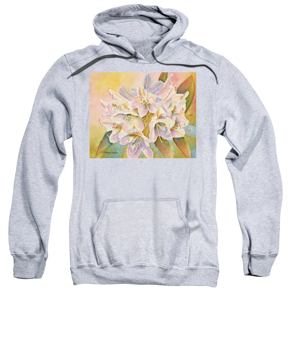 Purple Flowers Sweatshirt featuring the painting Glowing Once Glowing Twice by Kathryn Duncan