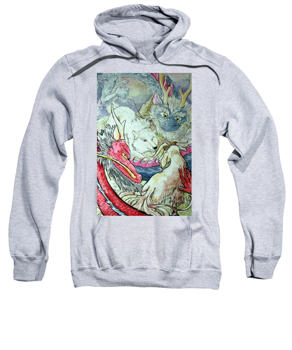 Asian Dragons Sweatshirt featuring the painting Goats Vs Wolves by Andrea Walton