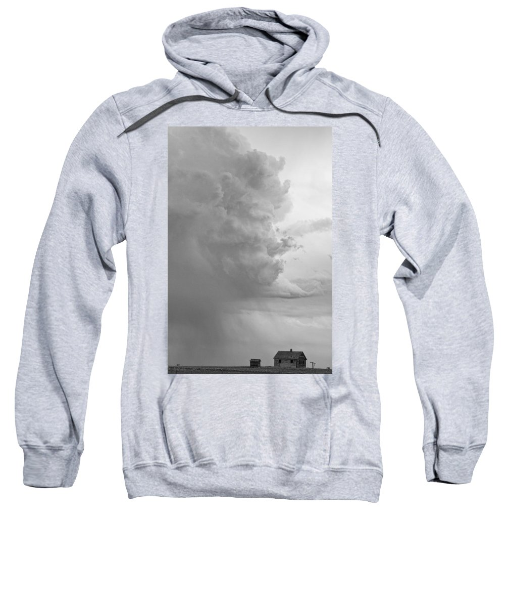 Storms Sweatshirt featuring the photograph Gobbled Up By A Storm Bw by James BO Insogna