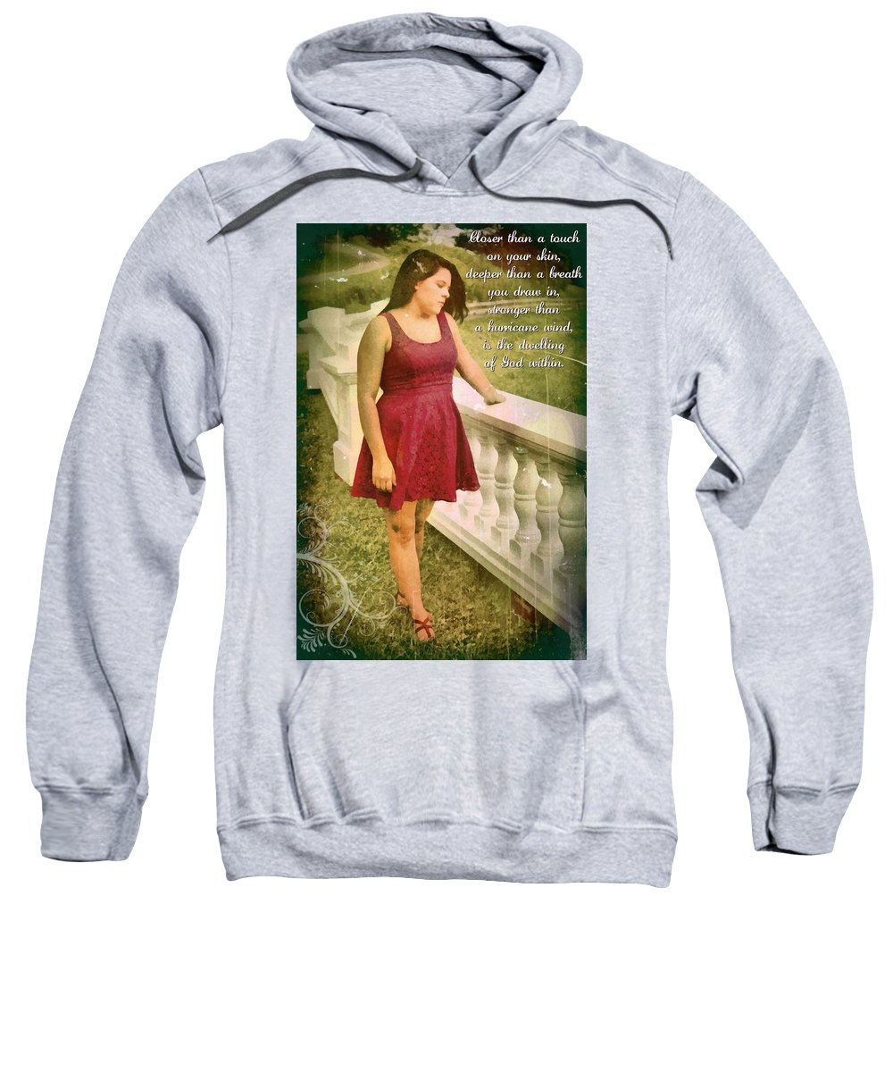 Jesus Sweatshirt featuring the digital art God Within by Michelle Greene Wheeler