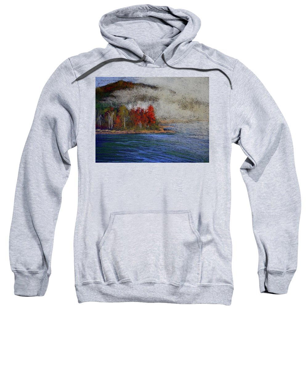 Nature Sweatshirt featuring the painting Goff Point Fog by Kitty Harvill
