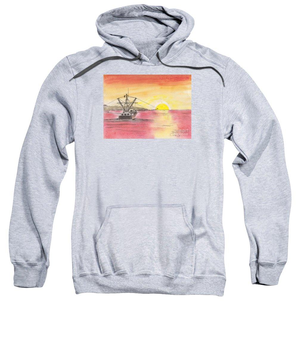 Ship Sweatshirt featuring the painting Going Fishing by David Jackson