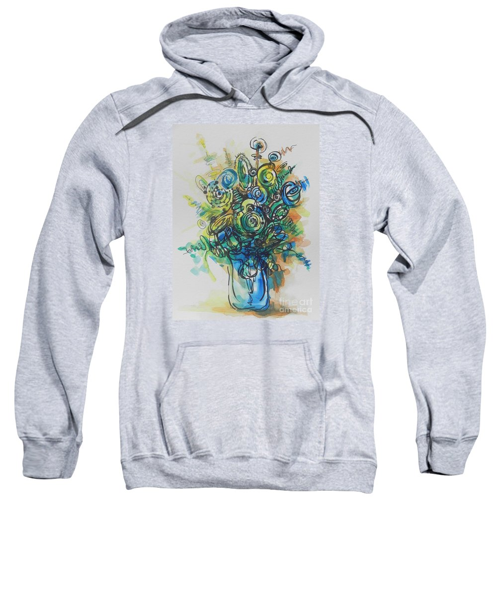 Watercolor Sweatshirt featuring the painting Going In Circles by Chrisann Ellis