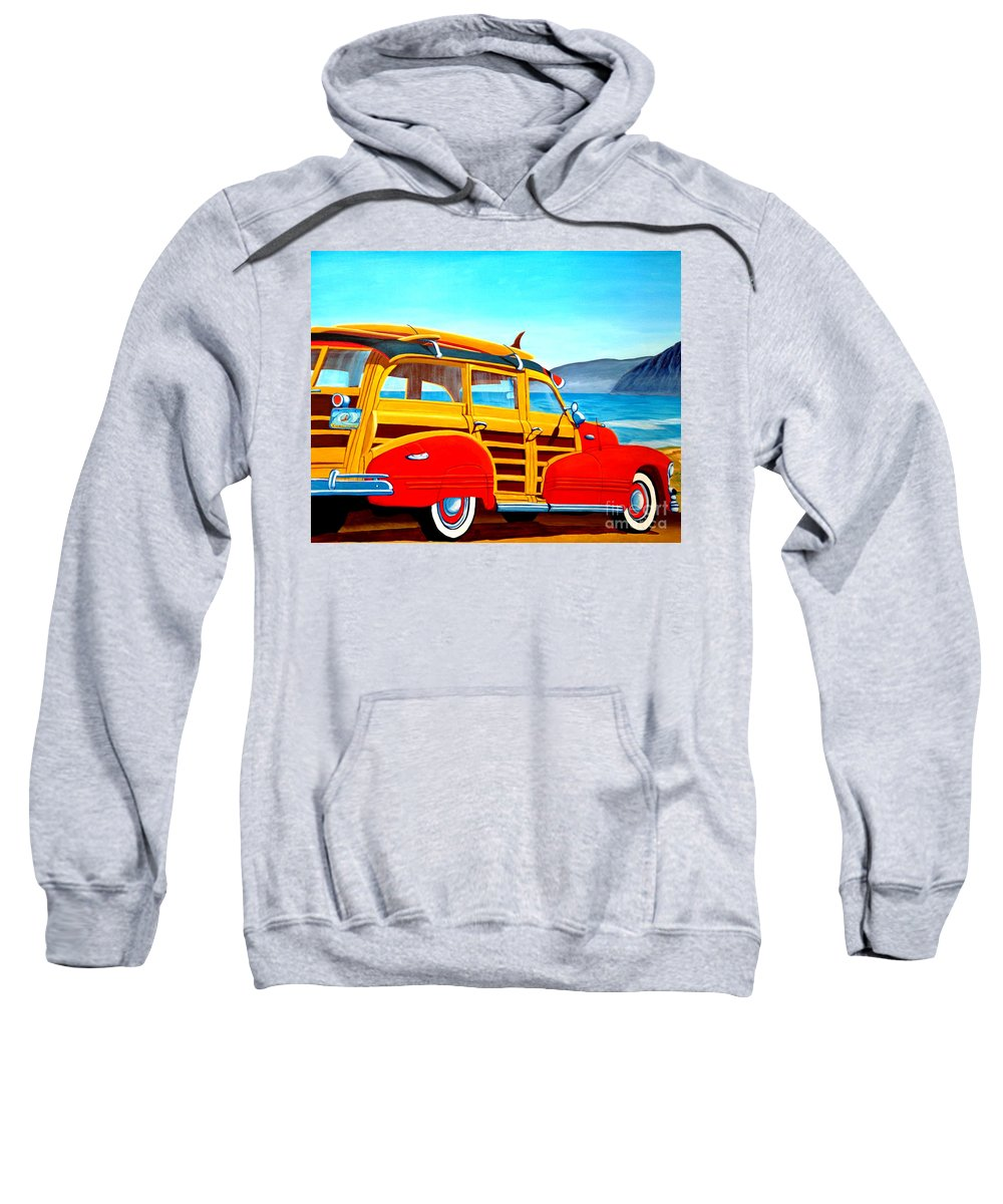 Surfing Sweatshirt featuring the painting Going to Surf City by Anthony Dunphy