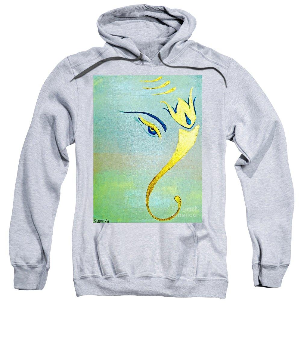 Lucky Sweatshirt featuring the painting Gold Ganesh by Kusum Vij