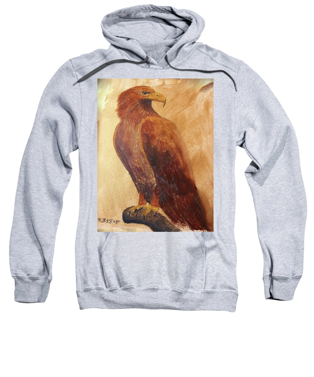 Golden Eagle Sweatshirt featuring the painting Golden Eagle by Richard Le Page