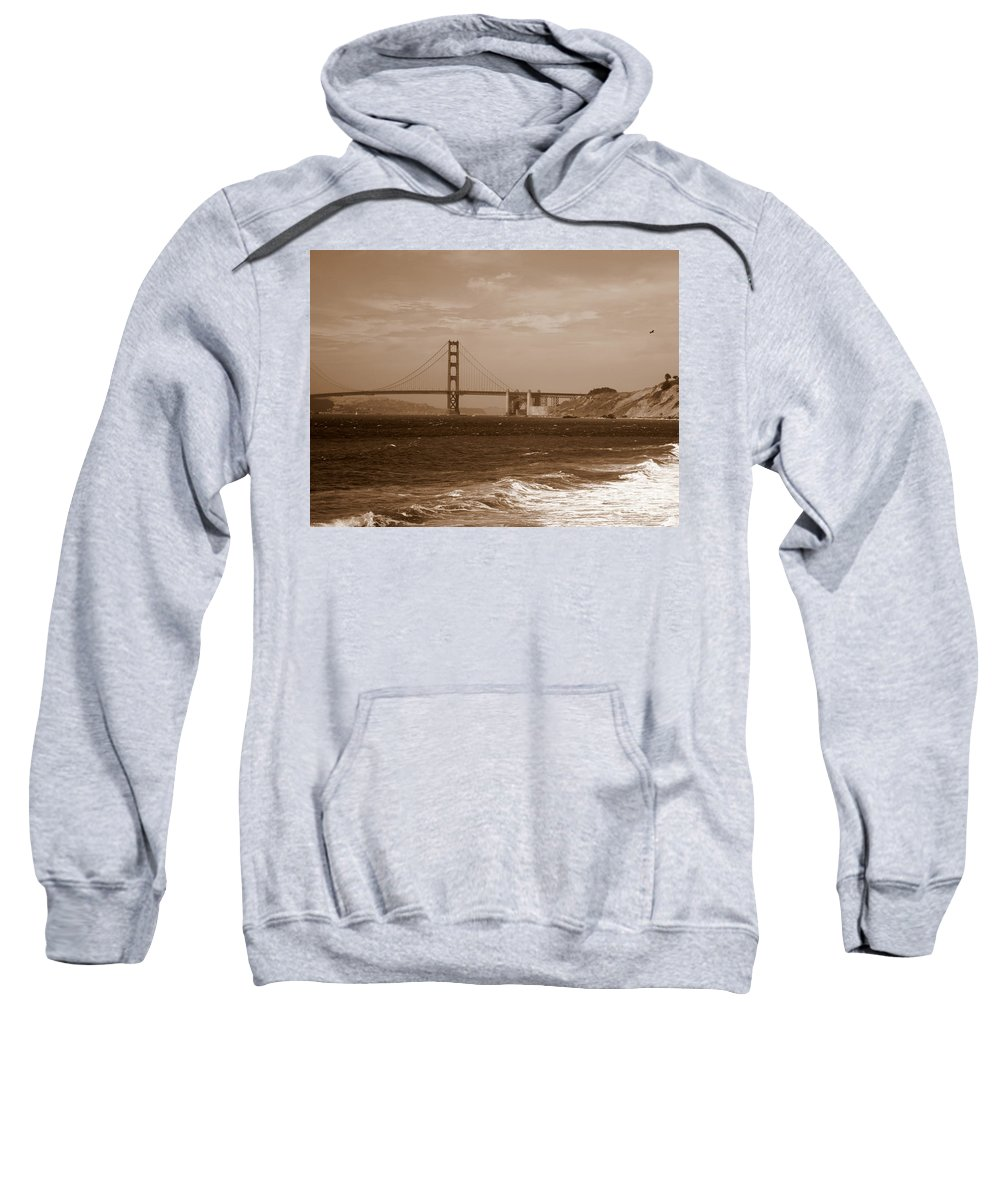 Golden Gate Bridge Sweatshirt featuring the photograph Golden Gate Bridge With Surf Sepia by Carol Groenen