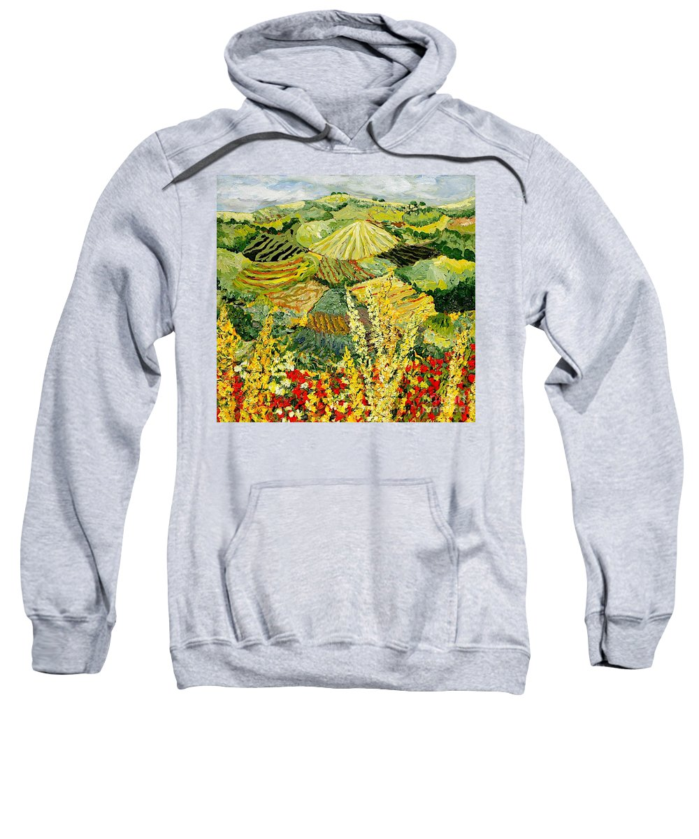 Landscape Sweatshirt featuring the painting Golden Hedge by Allan P Friedlander