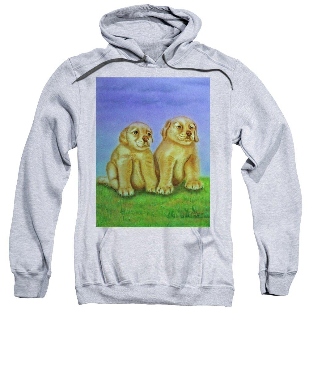 Golden Retriever Sweatshirt featuring the painting Golden Retriever by Thomas J Herring