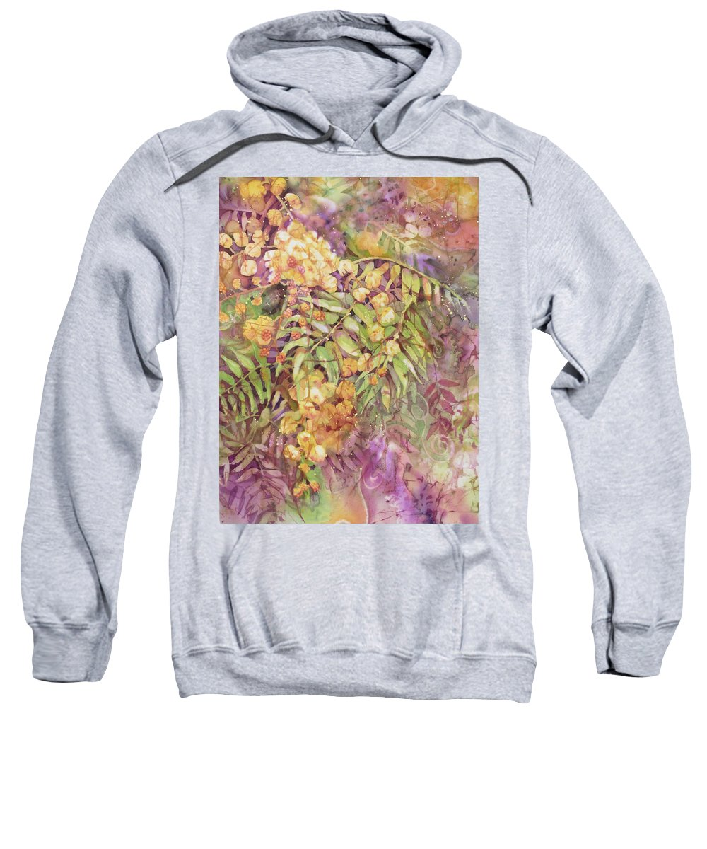Flower Sweatshirt featuring the painting Golden Wattle by Deborah Younglao