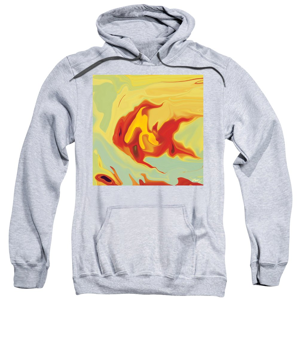 Aquarium Sweatshirt featuring the digital art Goldfish 2 by Rabi Khan