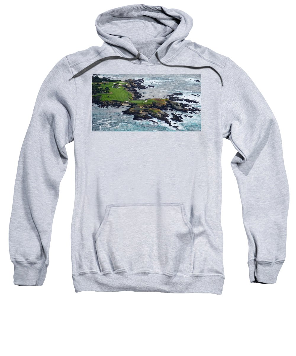 Photography Sweatshirt featuring the photograph Golf Course On An Island, Pebble Beach by Panoramic Images