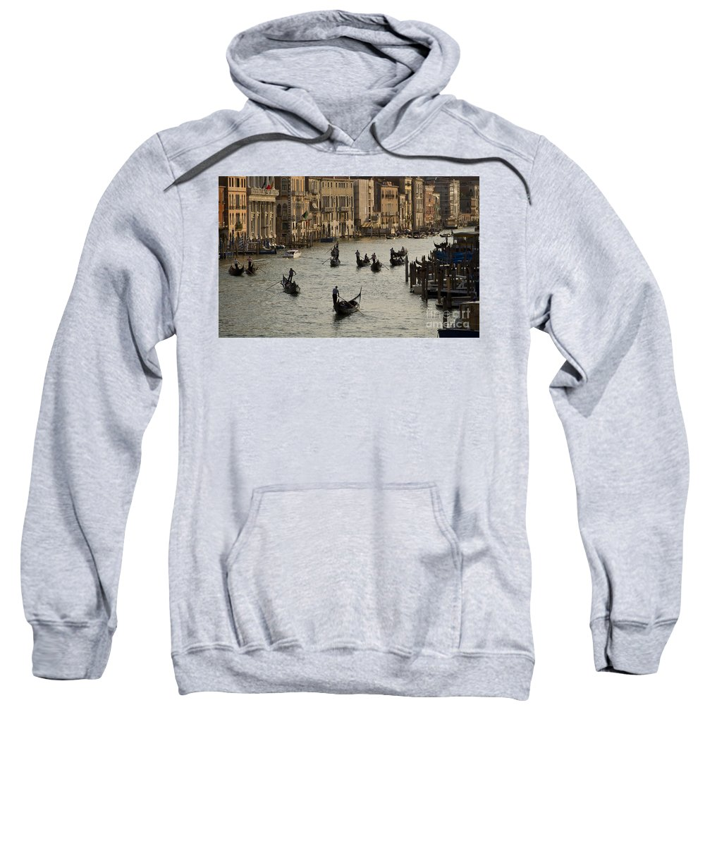 Venice Italy Sweatshirt featuring the photograph Gondolas On The Grand Canal by Dennis Hedberg