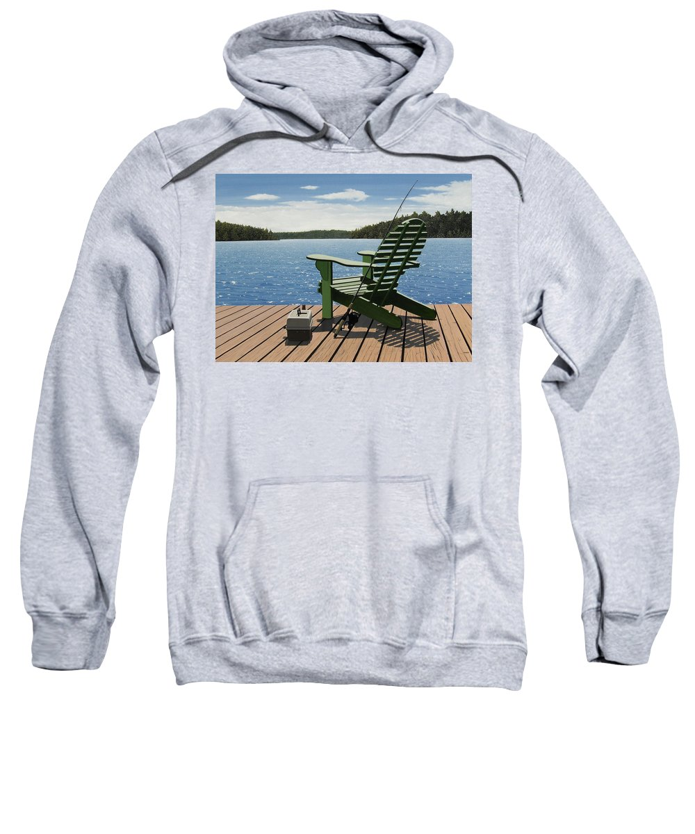 Landscapes Sweatshirt featuring the painting Gone Fishing by Kenneth M Kirsch
