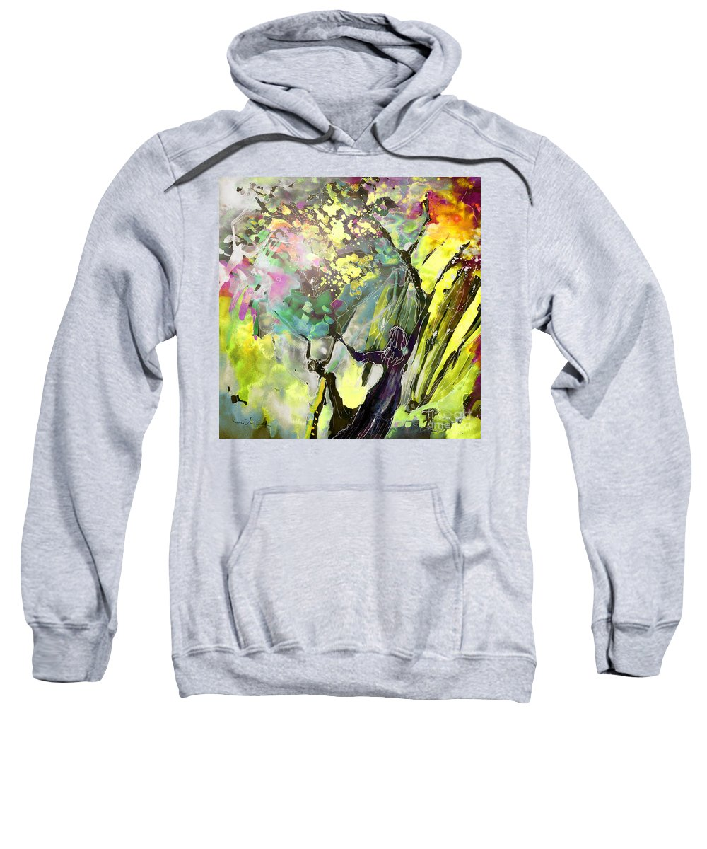 Fantasy Sweatshirt featuring the painting Grace Under Pressure by Miki De Goodaboom