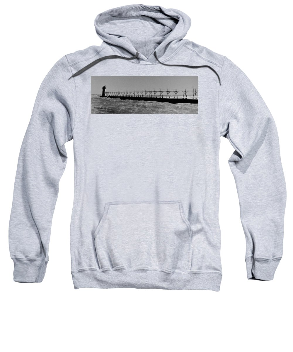 Sweatshirt featuring the photograph Grand Haven Light In Black And White by Daniel Thompson
