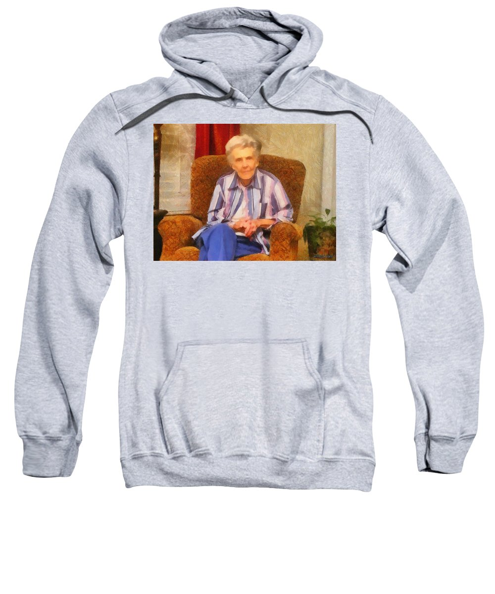Chair Sweatshirt featuring the painting Grandmother by Jeffrey Kolker