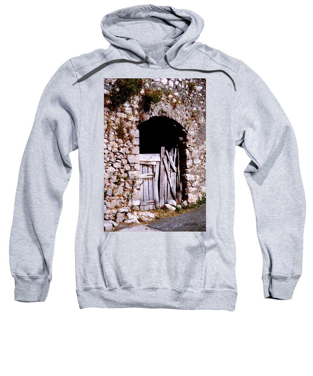 Italy Sweatshirt featuring the digital art Grandpa's Back Door by John Vincent Palozzi