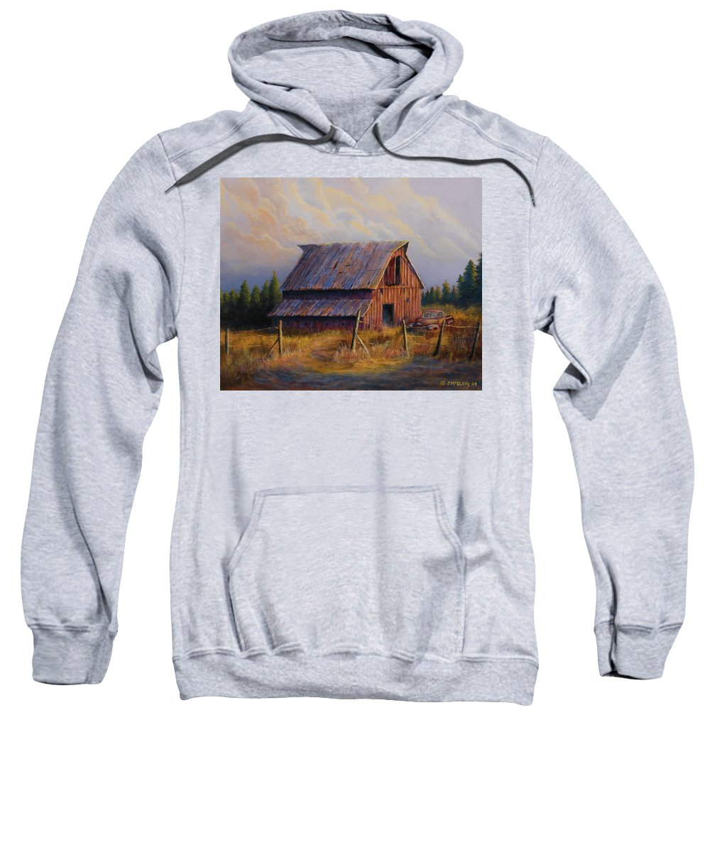 Barn Sweatshirt featuring the painting Grandpas Truck by Jerry McElroy