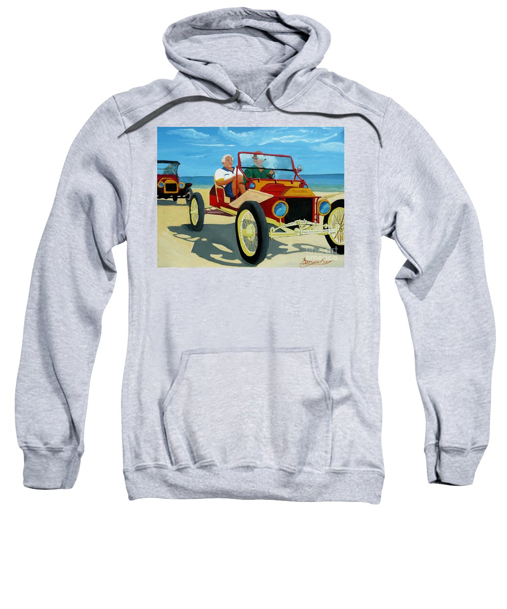 Cars Sweatshirt featuring the painting Granpas Racer by Anthony Dunphy