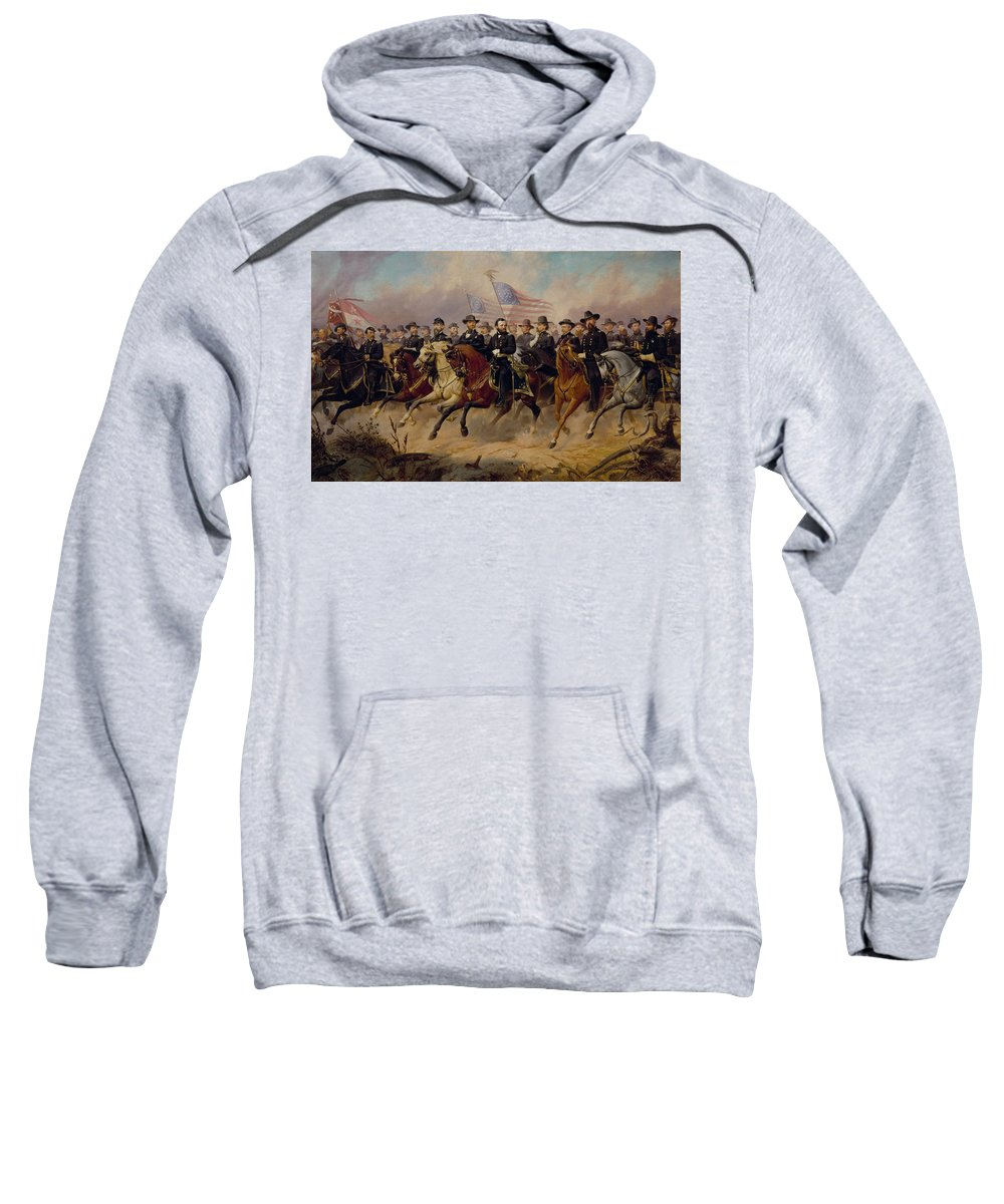 Ole Peter Hansen Balling Sweatshirt featuring the painting Grant And His Generals by Ole Peter Hansen Balling