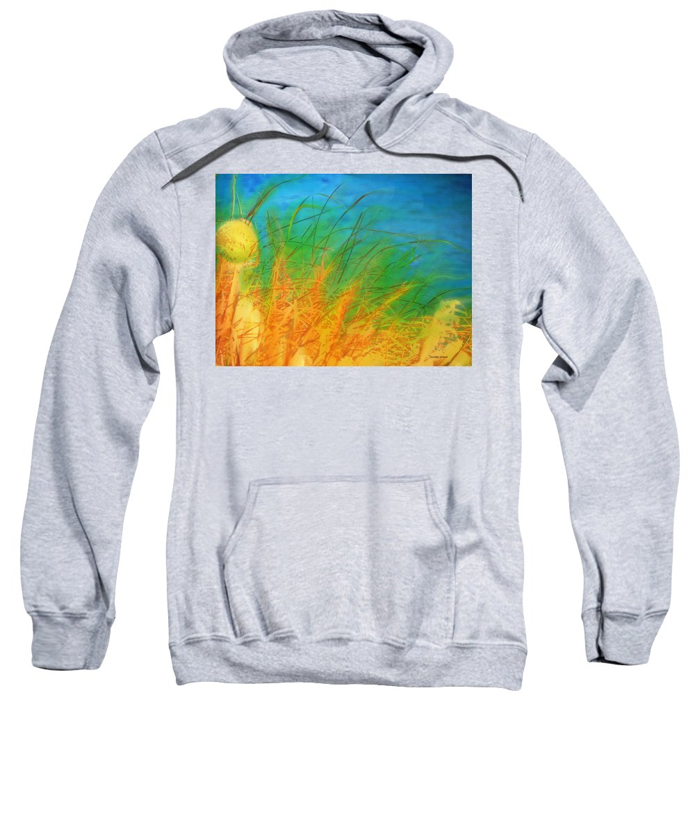 Expressive Sweatshirt featuring the mixed media Grass Along The River by Lenore Senior