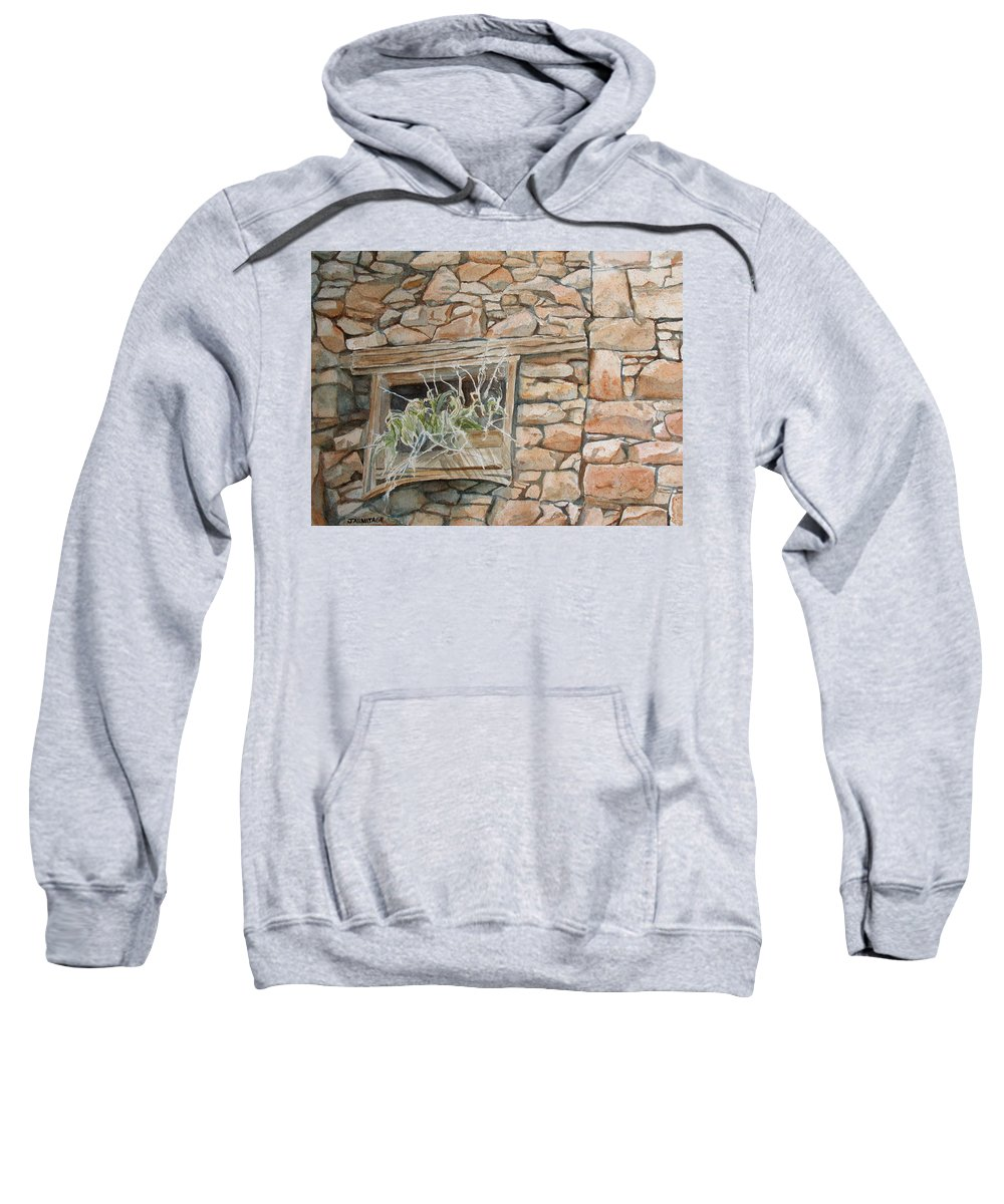 Wall Sweatshirt featuring the painting Grass In The Window by Jenny Armitage