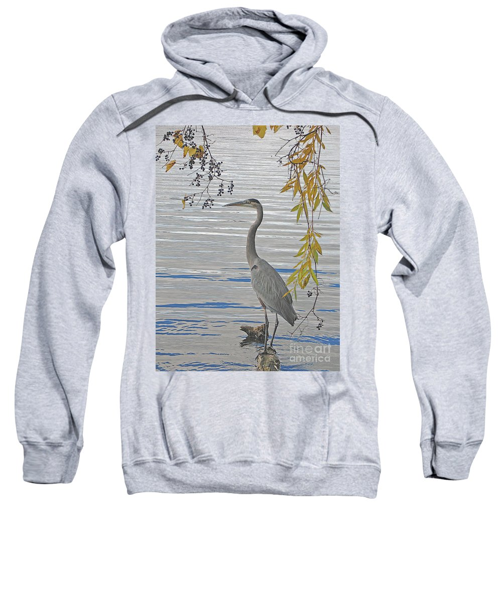 Heron Sweatshirt featuring the photograph Great Blue Heron by Ann Horn