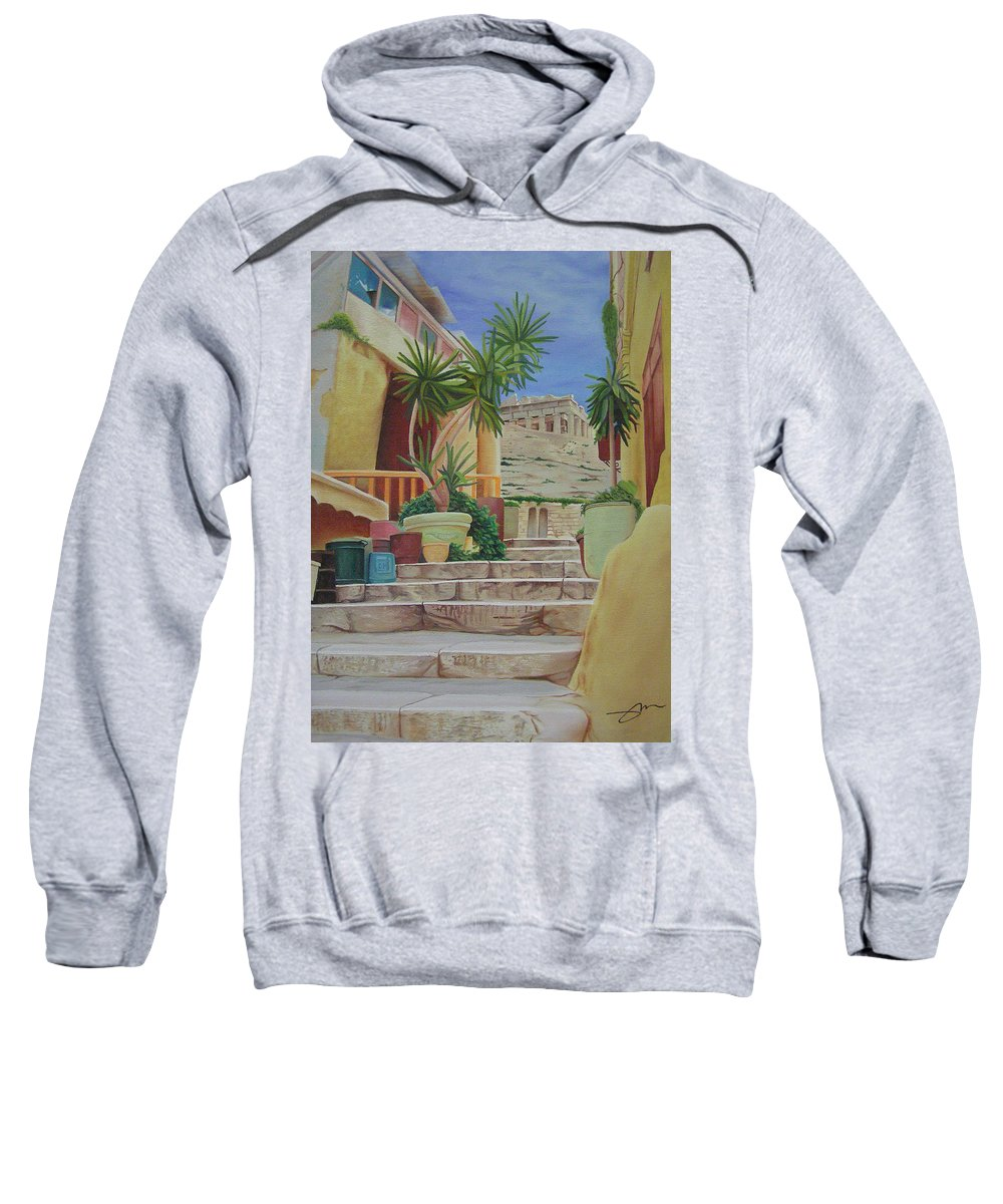 Greece Sweatshirt featuring the painting Greece by Joshua Morton
