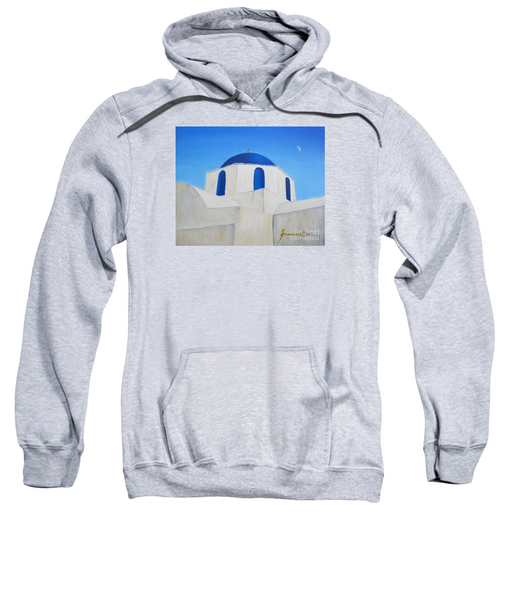 Greece Sweatshirt featuring the painting Greek Island Church by Jerome Stumphauzer