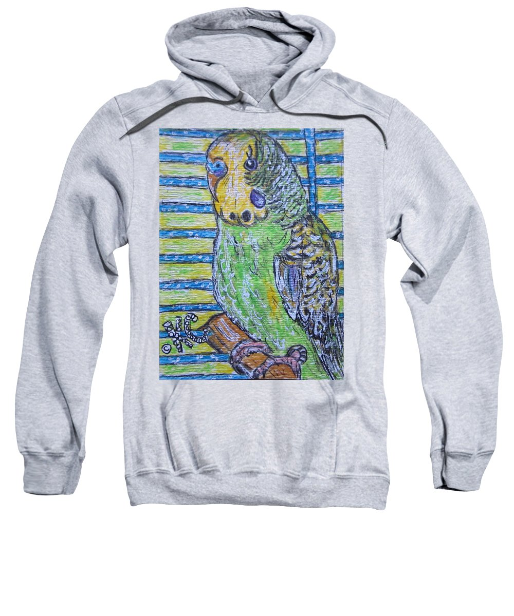 Green Sweatshirt featuring the painting Green Parakeet by Kathy Marrs Chandler
