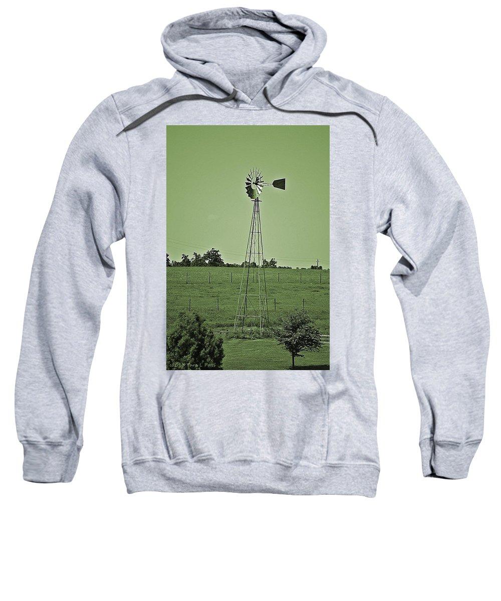 Windmill Sweatshirt featuring the photograph Green Windmill by Tara Potts