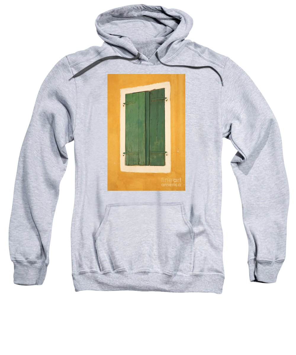 Architecture Sweatshirt featuring the photograph Green Window Shutters by Deborah Benbrook