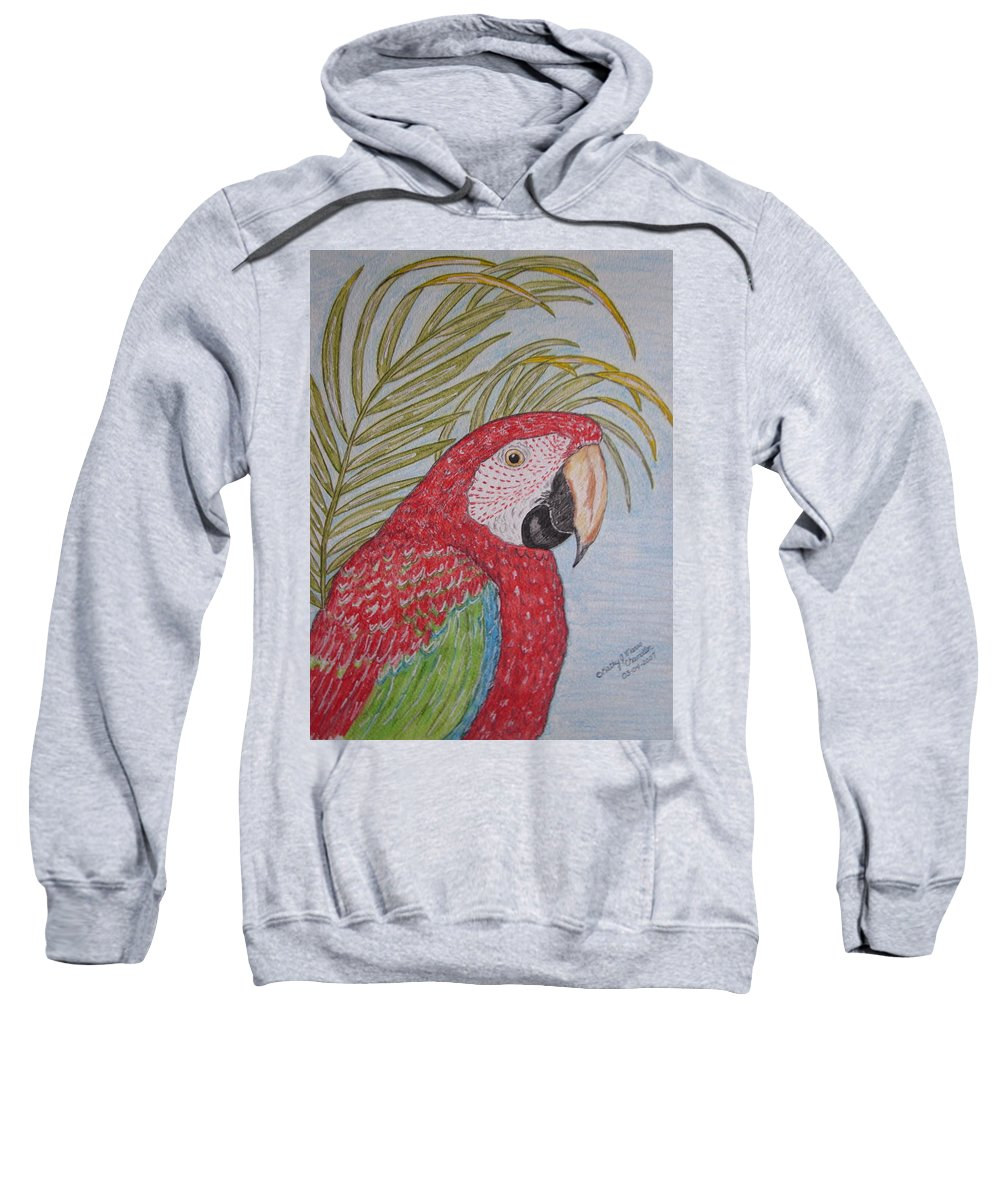 Green Wing Macaw Sweatshirt featuring the painting Green Winged Macaw by Kathy Marrs Chandler