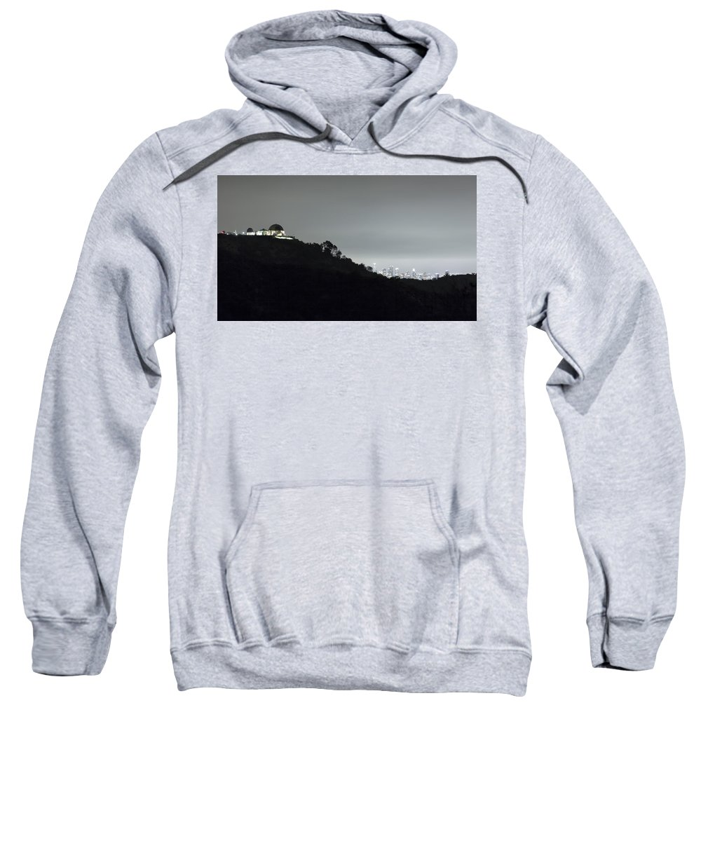 Griffith Park Observatory Sweatshirt featuring the photograph Griffith Park Observatory And Los Angeles Skyline At Night by Belinda Greb